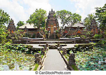 Pura Taman Saraswati - Balinese temple with lotus pond, Ubud...