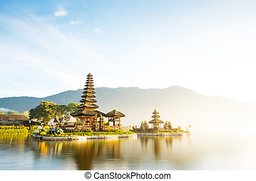 Pura Ulun Danu Beratan temple in Bali - Long exposure shot ...