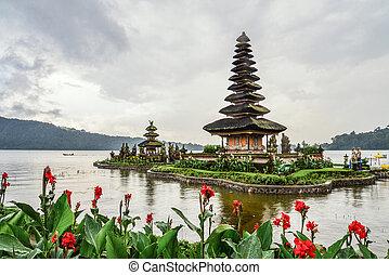 Pura Ulun Danu Bratan temple at rainy day on Bali, Indonesia