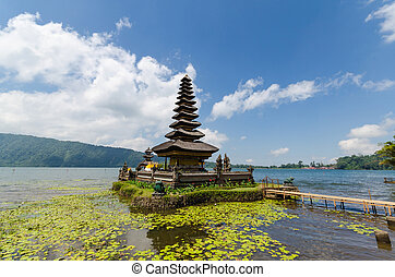 pura ulun danu, bratan, templo, en, lago, en, bali, isla, indonesia