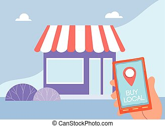 purchase at local businesses by mobile application vector illustration design