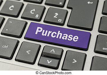Purchase button on computer keyboard - Purple Purchase key...