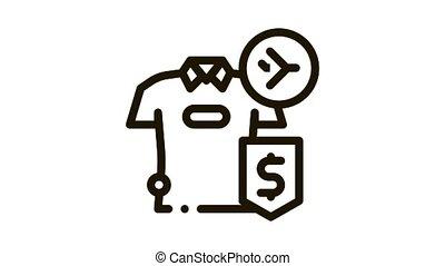 purchase cash t-shirt duty free Icon Animation. black purchase cash t-shirt duty free animated icon on white background