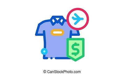 purchase cash t-shirt duty free Icon Animation. color purchase cash t-shirt duty free animated icon on white background