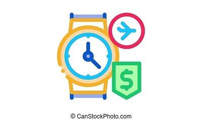 purchase cash wristwatch duty free Icon Animation. color purchase cash wristwatch duty free animated icon on white background