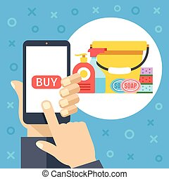 Purchase cleaning supplies and tools using mobile app. Smartphone screen with buy button and cleaning equipment. Modern concept. Flat design vector illustration