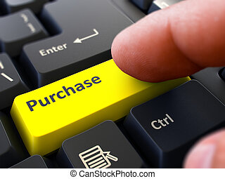 Purchase Concept. Person Click Keyboard Button.