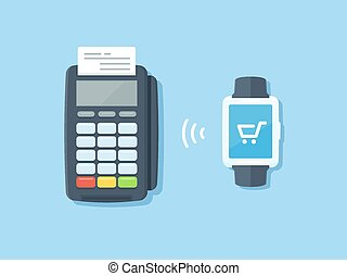 Purchase - Smartwatch with shopping cart icon making...