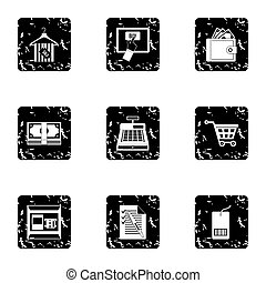 Purchase in shop icons set, grunge style