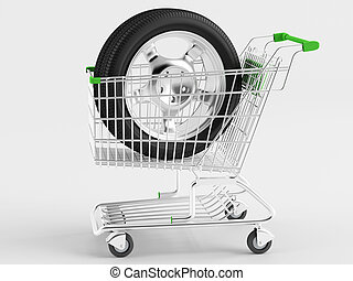 Purchase of automotive wheels - Car wheel drive in shopping...