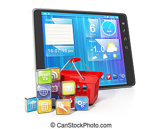 Purchase of mobile applications. Tablet PC with korzhinoy shopping and application group on a white background