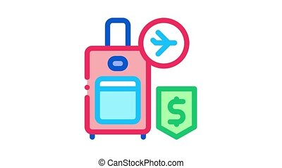purchase suitcases with handle duty free Icon Animation. color purchase suitcases with handle duty free animated icon on white background