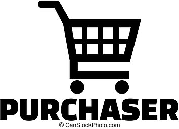 Purchaser with shopping cart icon