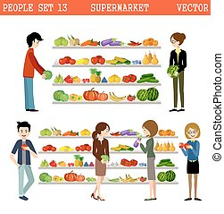purchases., supermarché, gens