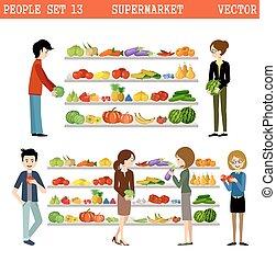 purchases., supermercato, persone