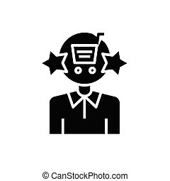 Purchasing black icon, concept illustration, vector flat symbol, glyph sign.