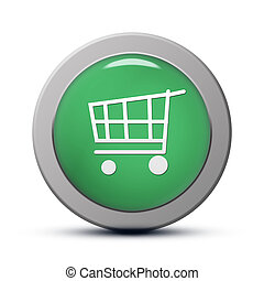 Purchasing cart icon - green round Icon series : Purchasing...