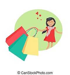 Purchasing Concept with Smiling Girl Holding Packs