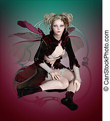 Purdey Fae - a graceful fairy with beetle wings and a cute...