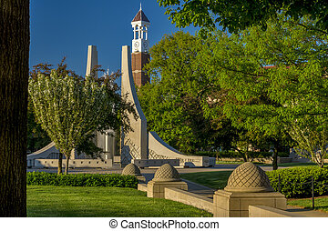 Purdue university bell clock and fountain