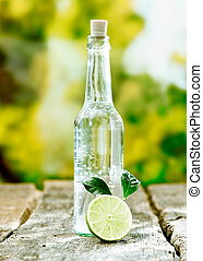 Pure aerated water in a glass bottle