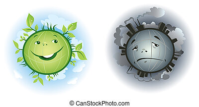 Pure and polluted Earth cartoons - Vector illustrations of...