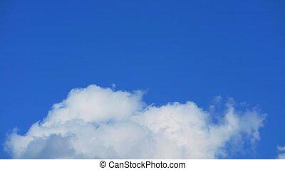 pure beautiful clear blue sky heap white cloud time lapse