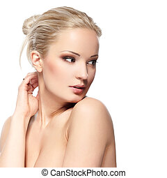 Pure beauty - Portrait of a sensual young blond woman ...