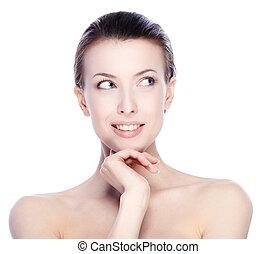 Pure beauty - Portrait of beautiful female model looking up...