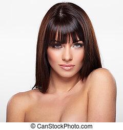 Pure beauty - Portrait of beautiful female model on grey ...