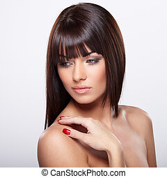 Pure beauty - Portrait of beautiful female model on grey...
