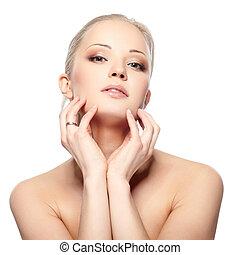 Pure beauty - Portrait of beautiful female model on white...