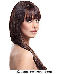 Pure beauty - Portrait of beautiful female model on white ...