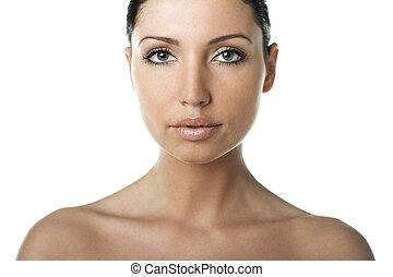 Pure Beauty - Portrait of Fresh and Beautiful brunette woman