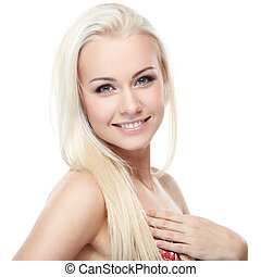 Pure beauty - Young blond lady with a beautiful hair on...