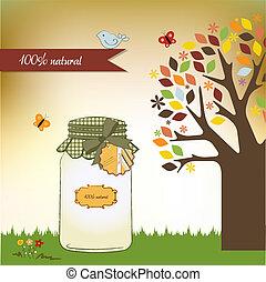 pure biological food jar in vector format