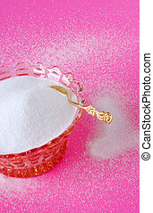Pure Cane Sugar in a Vintage Crystal Bowl with a Gold Sugar...