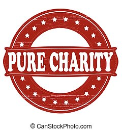 Pure charity - Stamp with text pure charity inside, vector...