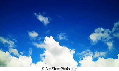 pure clear blue sky and white heap gray cloud moving  time ...