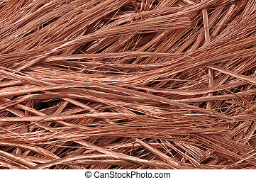 Pure copper wires raw material for industry background