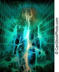 Spiritual art. Energy inside human silhouette. 3D rendering