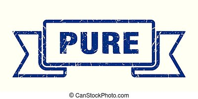 pure grunge ribbon. pure sign. pure banner