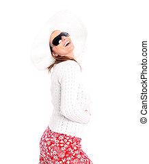 Pure joy - A portrait of a pretty sexy woman in sunglasses...