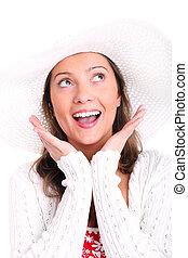 Pure joy - A portrait of a pretty sexy woman in a hat...