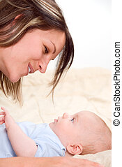 Pure love - mom playing fun things with her baby boy