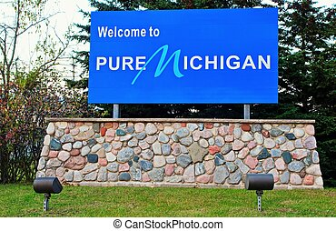 Pure Michigan - Welcome to Michigan sign greets visitors to ...