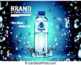 pure mineral water ad, plastic bottle in the middle and flying water drop elements, blue background 3d illustration
