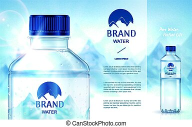 pure mineral water ad, with bottle close up on the left side...