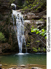 Pure mountain creek with green water attractive place in Spain .