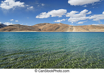 Pure mountain lake with transparent water